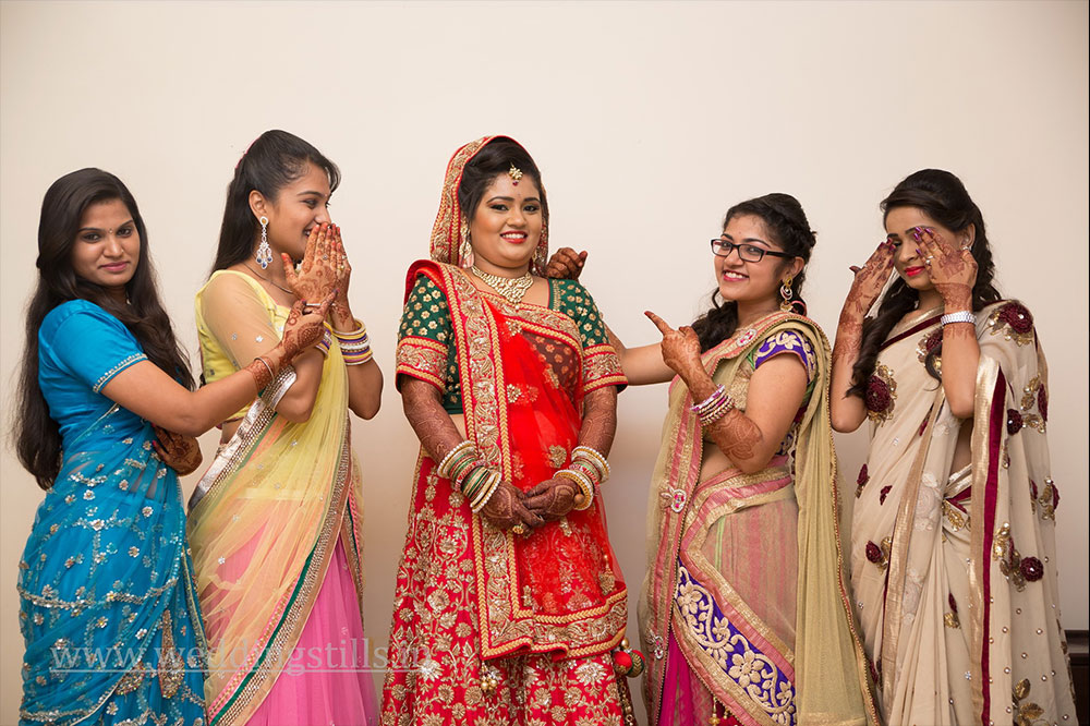 Bride with friends at a wedding